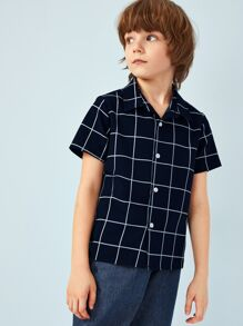 Boys Grid Print Shirt