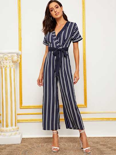 Summer Blue Bodycon Backless Stripe Jumpsuits Women Sexy Bowtie Party Clubwear Jumpsuits Casual Overalls Jumpsuit Plus Size Special Buy Women's Clothing