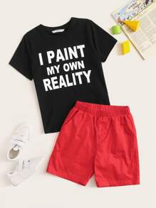 Boys Slogan Print Tee & Solid Shorts Set