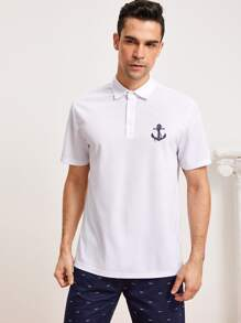 Men Button Half-placket Anchor Print Polo Shirt