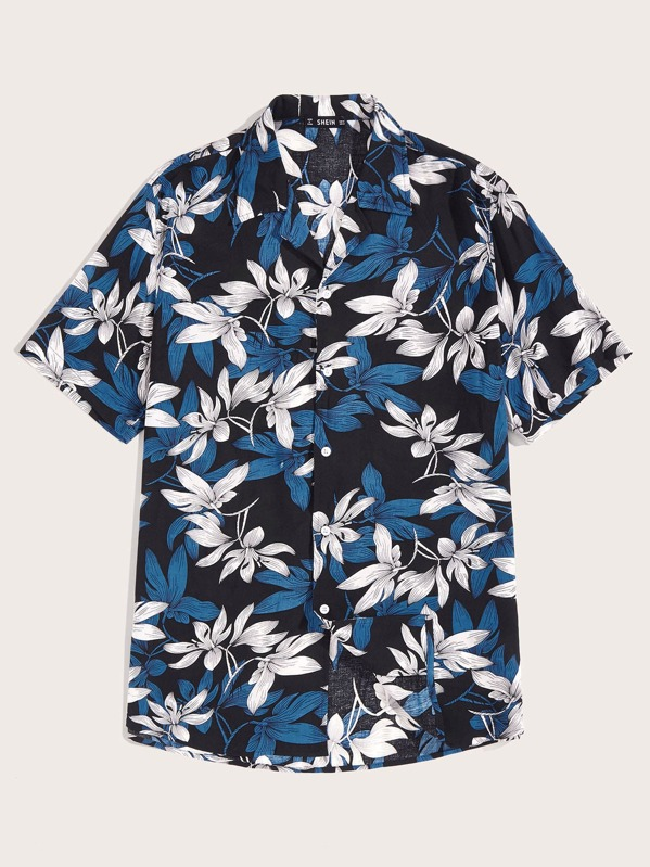 Shein Men Floral Print Notch Collar Hawaiian Shirt by Sheinside