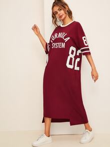 Stepped Hem Varsity Print Tee Dress