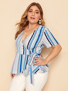Plus Tie Side Buttoned Striped Wrap Top