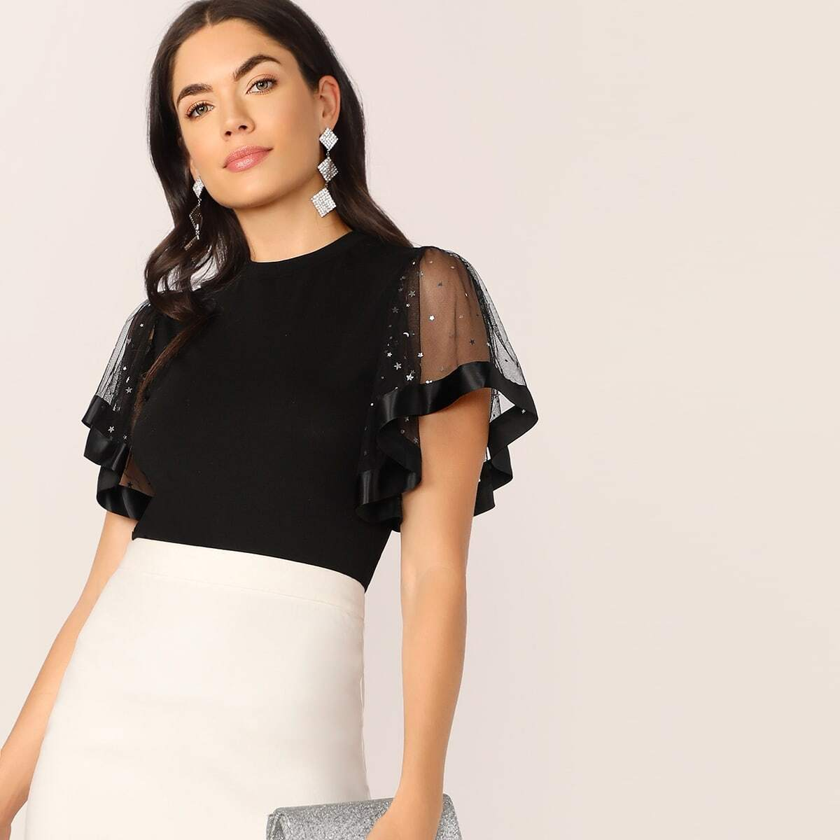 SHEIN coupon: Star Mesh Flutter Sleeve Slim Fitted Tee