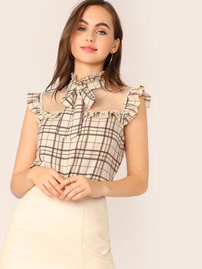 2a34591070 Tie Neck Dot Mesh Yoke Ruffle Plaid Top