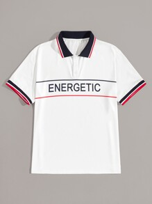 Men Contrast Trim Letter Print Polo Shirt