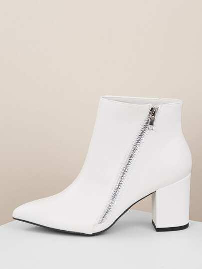 1683396714e7 Pointy Toe Block Heel Side Zipper Ankle Boots