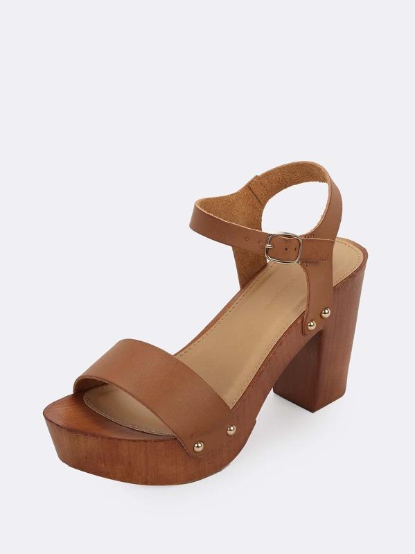 e8bed211b3 Buckled Ankle Wood Block Heel Platform Sandals | SHEIN
