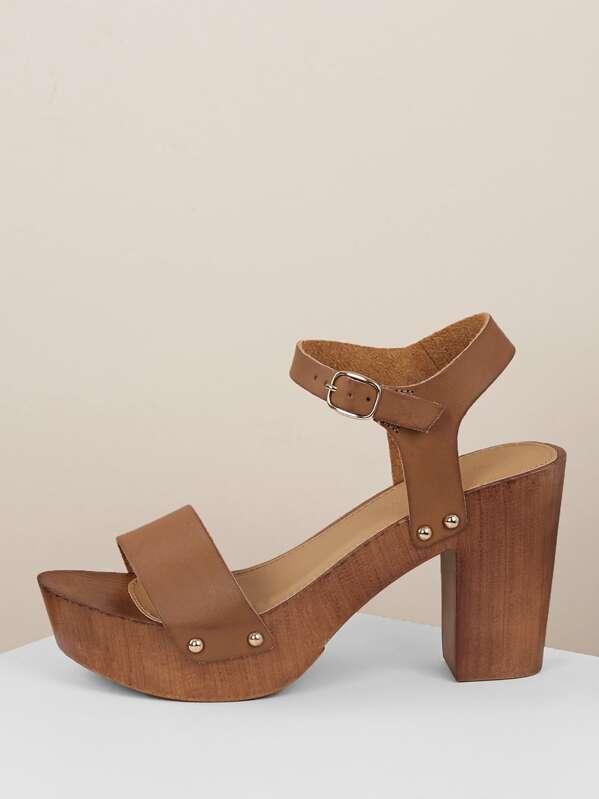 Buckled Ankle Wood Block Heel Platform Sandals