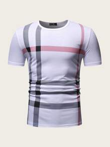 Men Striped Print Tee