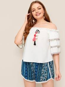 Plus Frill Fringe Off Shoulder Blouse