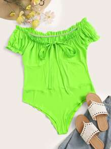 Plus Neon Green Knot Frill Bodysuit