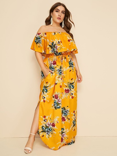 e2586eb33c Plus Floral Print Drawstring Waist Off Shoulder Dress