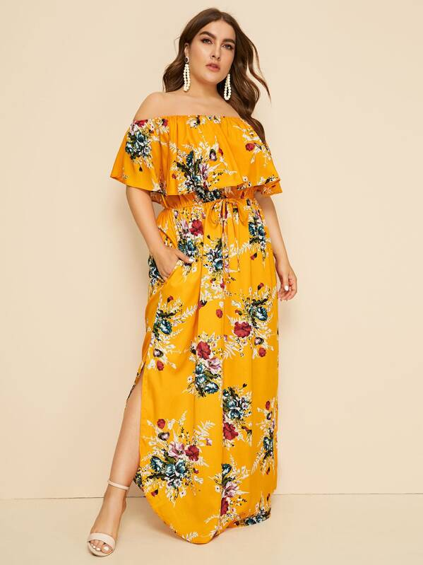 534f097dfd Plus Floral Print Drawstring Waist Off Shoulder Dress | SHEIN