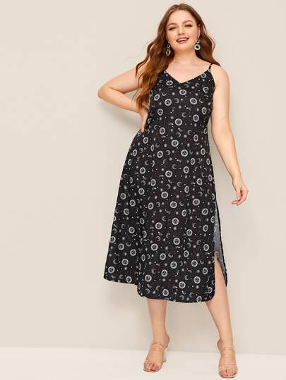 Plus Galaxy Print Split Side Cami Dress