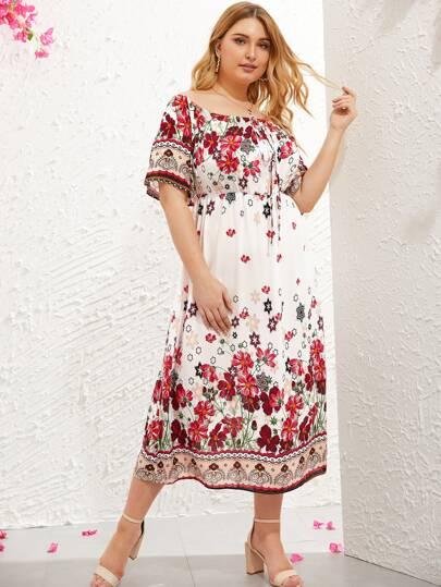 1cce4b2a4cfc6c Plus Floral Print Off Shoulder Dress