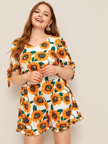 Plus Knot Cuff Zip Back Sunflower Print Playsuit