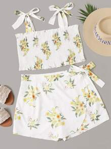 Plus Floral Print Shirred Cami Top With Wrap Skort