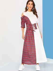 Plaid Print Lace Up Front Cold Shoulder Dress