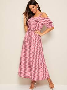Gingham Print Cold Shoulder Belted Maxi Dress