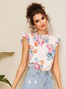 Floral Print Frill Neck Blouse