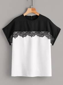 Contrast Lace Two Tone Blouse