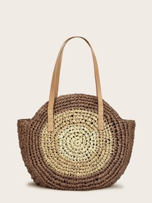 Zip Detail Winged Woven Tote Bag