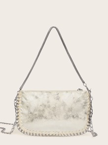 Stitch Detail Metallic Satchel Bag