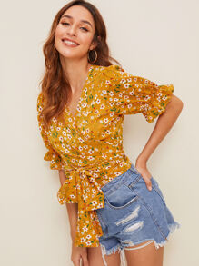 Ditsy Floral Print Knot Front Blouse