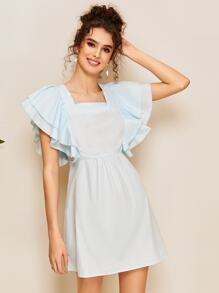 Butterfly Sleeve Square Neck Dress