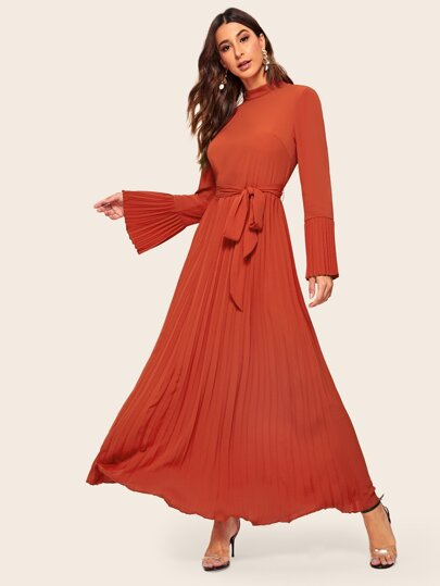 b9599cadd9 Mock-neck Bell Sleeve Self Belted Pleated Hijab Dress