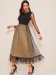 Ruffle Hem Striped Mesh Overlay Dress