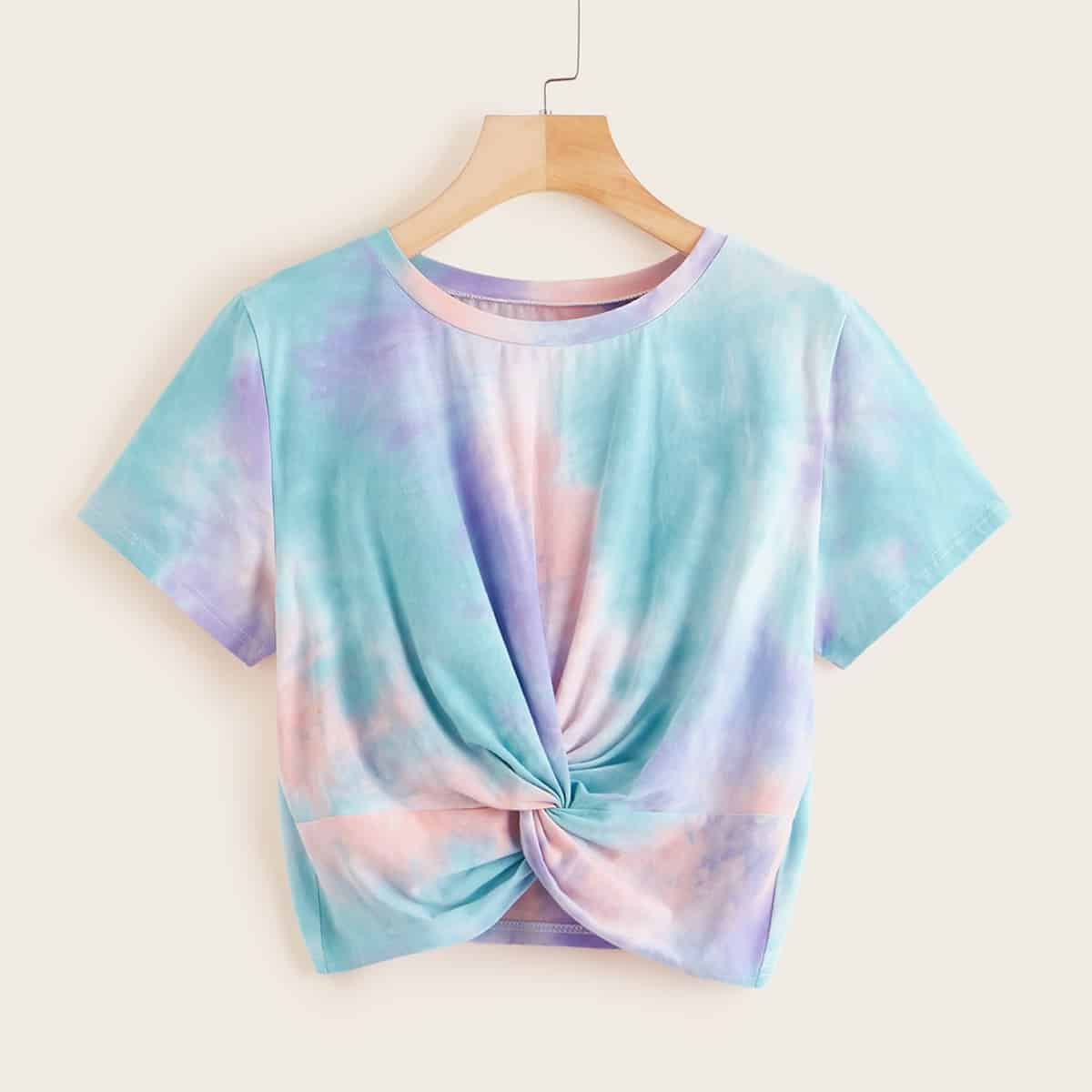 SHEIN coupon: Tie-Dye Wash Twisted Cropped Tee