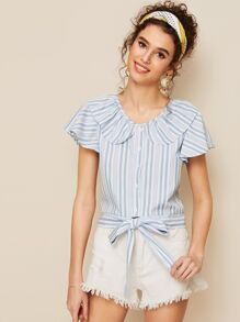 Striped Peter Pan Collar Knot Hem Blouse