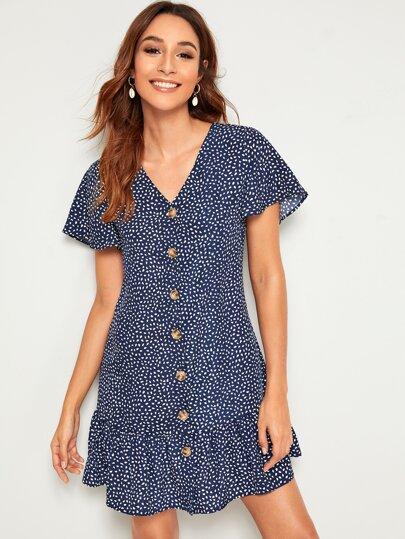 7fee1424d Vestido estilo camiseta bajo fruncido con estampado de dálmata