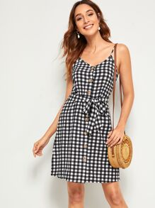 Gingham Button Front Belted Slip Dress