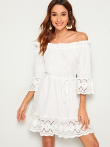 Off The Shoulder Eyelet Embroidery Dress