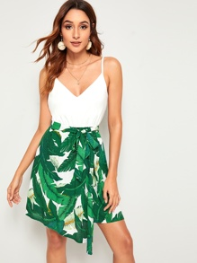 Tropical Print Belted Dress With Wrap Skirt