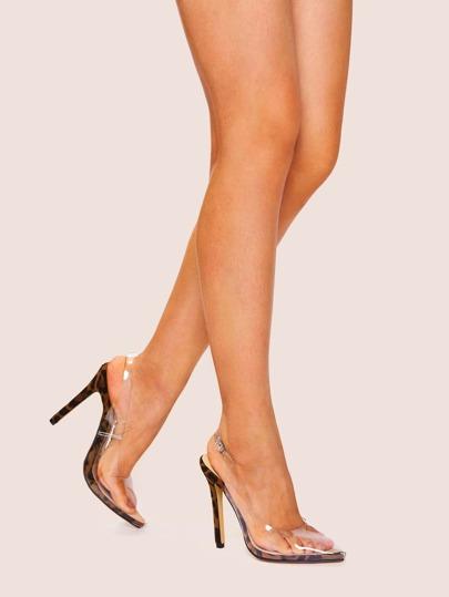 10767f3d61b Chaussures à talons aiguilles transparentes avec motif léopard