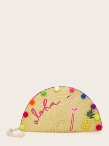 Pom-pom & Embroidery Decor Half Round Straw Clutch
