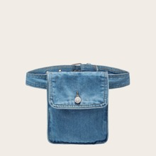 Button Detail Denim Bum Bags