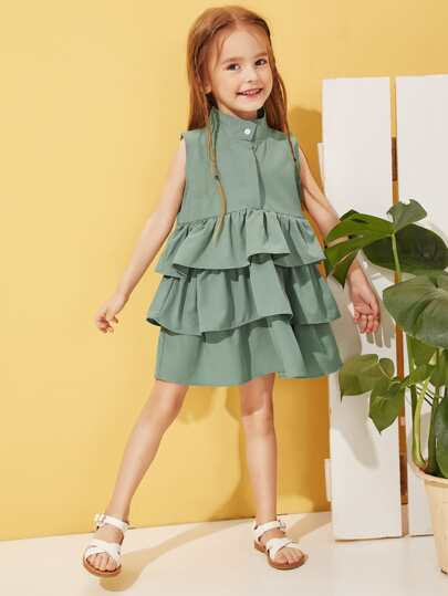 b2a102dbceed Toddler Girls Tiered Layer Solid A-line Dress