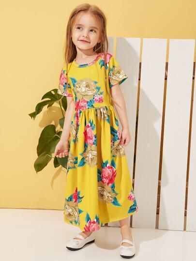 f88caff7c1f Toddler Girls Floral Print A-line Maxi Dress