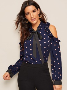 Polka Dot Open Shoulder Tie Neck Blouse