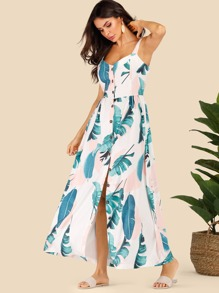 Tropical Print Button Front Cami Dress