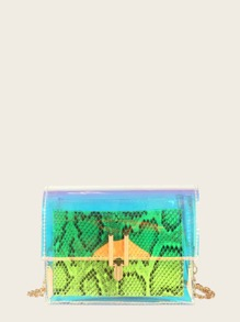Snakeskin Pattern Clear Chain Bag