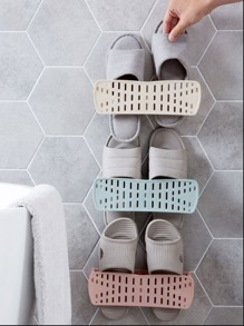 Wall Mounted Hollow Shoes Storage Rack 1pc