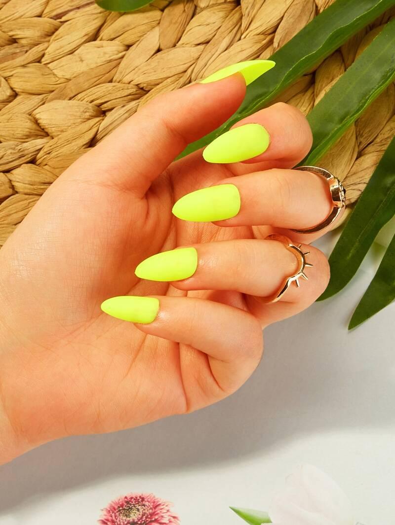 Faux ongles fluo avec bande adhésive double face \u0026 Lime à ongles 26 pièces
