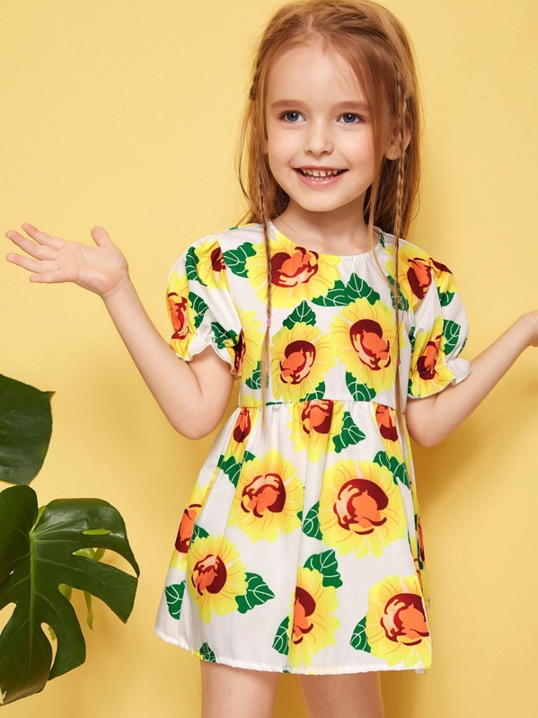 e97c5b6f2b241 Toddler Girls Sunflower Print Dress | SHEIN