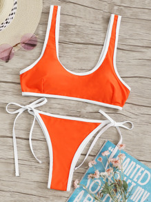 Piping Trim Scoop Neck Top With Tie Side Bikini